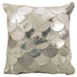 Nourison Natural Leather And Hide Pillow S1203 Silver Grey