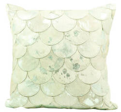 Nourison Natural Leather And Hide Pillow S1203 White Gold