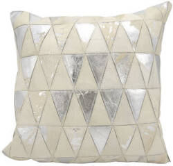 Nourison Natural Leather And Hide Pillow S1220 White Silver