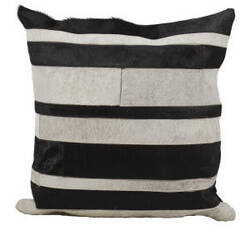 Nourison Pillows Natural Leather Hide S1656 Black Grey