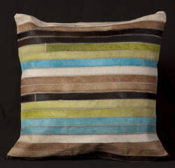 Nourison Pillows Natural Leather Hide S1806 Blue Green