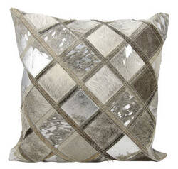 Nourison Natural Leather And Hide Pillow S1894 Silver Grey
