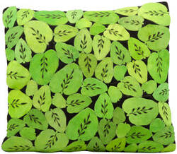 Nourison Pillows Natural Leather Hide S1986 Apple Green