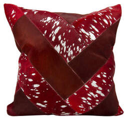 Nourison Natural Leather And Hide Pillow S2039 Burgundy Silver