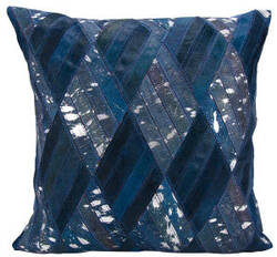 Nourison Natural Leather And Hide Pillow S5117 Navy Silver