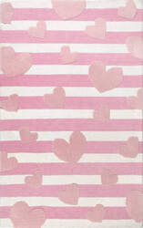 Nuloom Hearts Striped Cochran Pink Area Rug