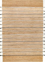Nuloom Side Tassel Stripes Natural Area Rug