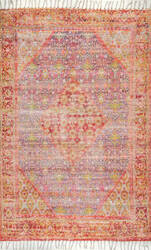 Famous Maker Flatwoven Nicole Orange Area Rug