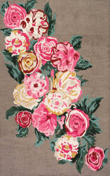 Famous Maker Hand Hooked Rose Bouquet Light Brown Area Rug