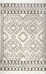 Famous Maker Vasiliki Tassel Off White Area Rug