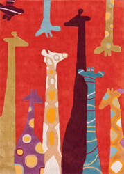 Nuloom Hand Tufted Giraffe Red Area Rug