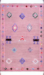 Famous Maker Ivey Pictographs Pink Area Rug