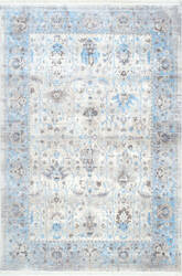 Nuloom Lasandra Ashen Fringe Light Blue Area Rug