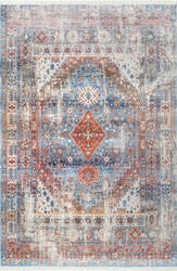 Nuloom Earley Medallion Fringe Blue Area Rug