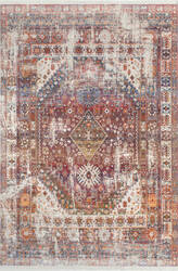 Nuloom Earley Medallion Fringe Rust Area Rug