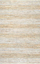 Nuloom Rozella Leather Stripes Beige Silver Area Rug