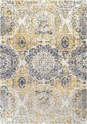 Famous Maker Lita Faded Damask Gold Area Rug