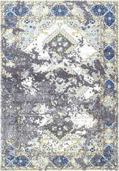 Nuloom Distressed Diamond Medallion Delena Grey Area Rug