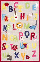 Nuloom Hand Tufted Animal Alphabet Beige Area Rug
