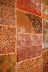 ORG Patchwork Over-Dye Orange Area Rug