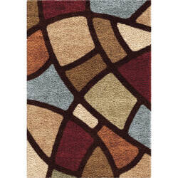 Orian Impressions Shag Circle Bloom Multi Brown Area Rug