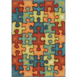 Orian Kids Court I'm Puzzled Rainbow Area Rug