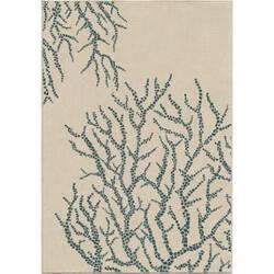 Orian Veranda All Over Coral White Area Rug