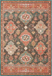 Oriental Weavers Toscana 9570b Charcoal - Orange Area Rug