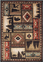 Oriental Weavers Woodlands 1041c Black - Multi Area Rug