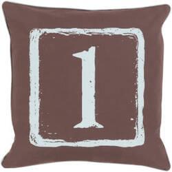 Surya Big Kid Blocks Pillow Bkb-041 Brown/Aqua