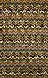 Trans-Ocean Seville Zigzag Stripe Green 9666/06 Area Rug
