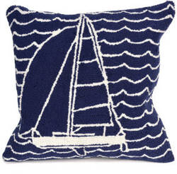 Trans-Ocean Frontporch Pillow Sails 1673/33 Navy