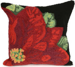 Trans-Ocean Frontporch Pillow Poinsettia 2046/48 Black