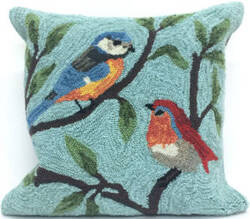 Trans-Ocean Frontporch Pillow Birds On Branches 2270/04 Aqua