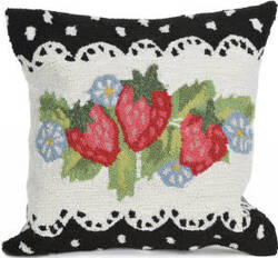 Trans-Ocean Frontporch Pillow Strawberries 2406/48 Black