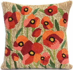 Trans-Ocean Frontporch Pillow Poppies 4244/12 Neutral