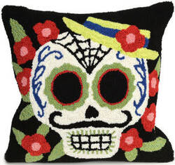 Trans-Ocean Frontporch Pillow Mr. Muerto 4275/48 Black
