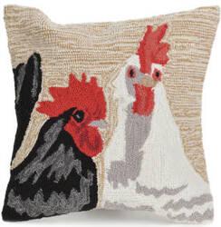 Trans-Ocean Frontporch Pillow Rooster Duet 4277/12 Sand