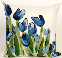 Trans-Ocean Visions Ii Pillow Allover Tulips 4134/03 Blue Area Rug