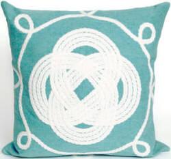 Trans-Ocean Visions Ii Pillow Ornamental Knot 4143/04 Aqua Area Rug