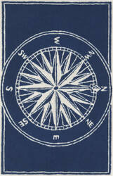 Trans-Ocean Frontporch Compass 1447/33 Navy Area Rug