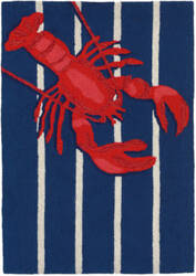 Trans-Ocean Frontporch Lobster On Stripes 1595/33 Navy Area Rug