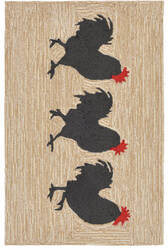 Trans-Ocean Frontporch Roosters 1870/12 Neutral Area Rug