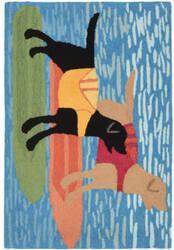 Trans-Ocean Frontporch Surfboard Dogs 1881/04 Ocean Area Rug