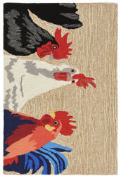 Trans-Ocean Frontporch Barnyard Roosters 2401/12 Neutral Area Rug