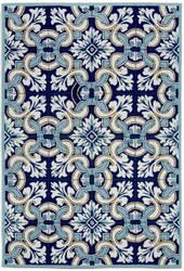 Trans-Ocean Ravella Floral Tile 2253/33 Navy Area Rug