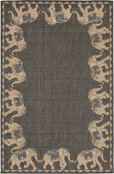 Trans-Ocean Terrace Marching Elephants 2772/82 Slate Area Rug