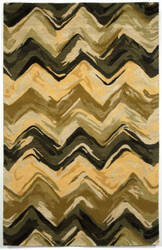 Trans-Ocean Tivoli Chevron Yellow - Grey Area Rug