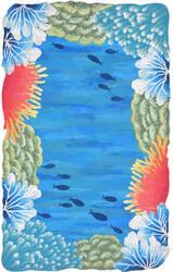 Trans-Ocean Visions Iv Reef Border 4137/03 Blue Area Rug