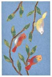 Trans-Ocean Visions Iii Chirp Birds Blue Area Rug